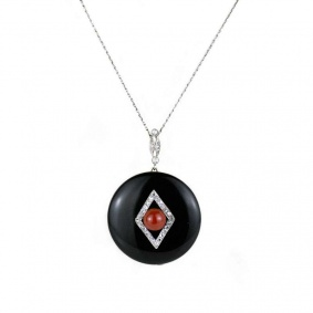 18K White Gold Onyx, Coral and Diamond Pendant c.1920.